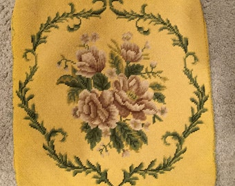"Vintage Needlepoint  Beautiful Taupe Background, with Gorgeous Flowers. 18"" x 23"""