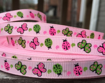 Butterfly Ladybug Grosgrain Ribbon 3/8 Inch 9mm 5 yards
