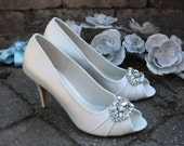 Wedding Shoes - Ivory Wedding Shoe - Crystal Embellishment -Bridal Shoes - Pumps - 3 Inch Heel - Wedding Pumps - Bridal Shoes - Bling Shoes