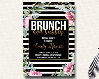 Black White Stripe Bridal Shower Invitation Floral Gold