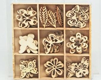 KaiserCraft Lucky Dip - Butterfly Flower Leaves - Wooden Shapes