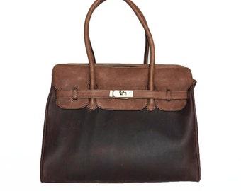 Color Block Genuine Leather Bag Cross-body Purse Ilita in dark brown color block