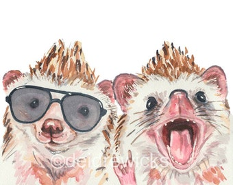Hedgehog Watercolor Painting - 11x14 Print, Animal Watercolor, Nursery Art, Hedgehog with Glasses, Rocker Dude