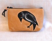 Raven leather coin purse in upcycled soft tan leather, lined, extra zip pocket, free shipping