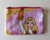 She-Ra Princess of Power Zipper Pouch - Small Zip Pouch Coin Purse Wallet - Upcycled made from vintage fabric