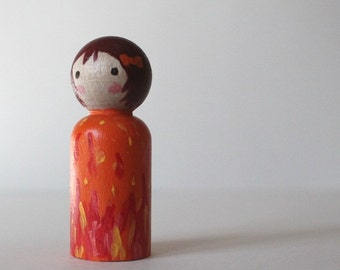 Peg Doll - Mini Kokeshi Doll - Wooden Doll Waldorf Handpainted - Flame Maiden
