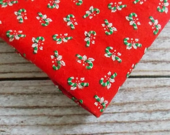 Vintage Christmas Fabric / Red Candy Canes / Quilting Fabric / Christmas Fabrics