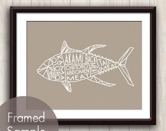 Tuna Fish Geometric Butcher Diagram Series B - Art Print (featured in Truffle Brown) Modern Kitchen Art Print