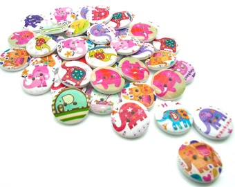 20 x Elephant wooden Buttons - Printed Colourful Buttons - Elephants - 20mm - (2)