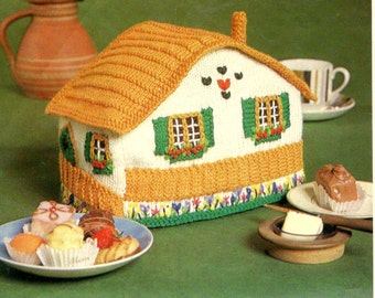 vintage knitting pattern cosy house cottage chalet tea teapot toaster cozy printable pdf download 1960