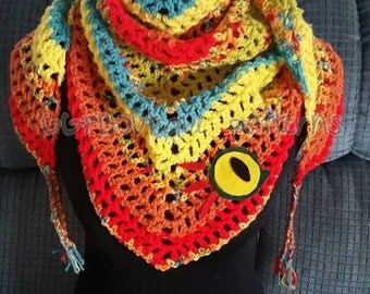 Finished product wow murloc shawl inspired