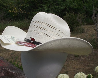 Vintage Bailey Straw Cowboy Cowgirl Dynamite Hat New Old Stock w/ Original Tags Rodeo Ranch Farm Summer Hat Wide Brim Size 6 7/8 Made In USA