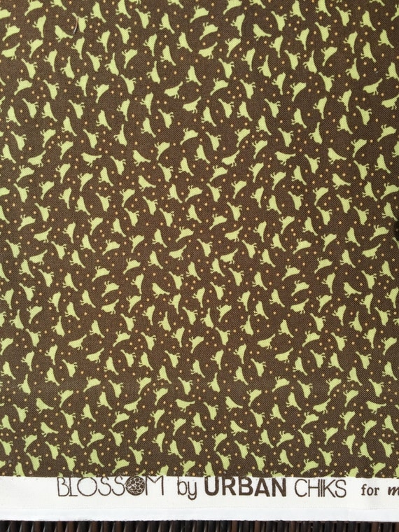Blossom Urban Chiks Chikadees bark brown moda fabrics FQ or more