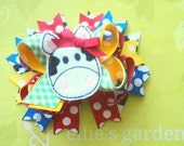 Farm Themed Cow Petite Sized Boutique Style Hair Bow Cow Print, Red, Royal Blue, Yellow, Green Gingham