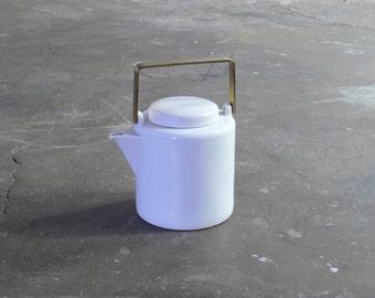 Modern Dansk Porcelain and Brass Teapot Designed by Jack Lenor Larsen
