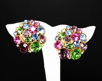 Multi Colored Rhinestone Earrings - Pink, Blue, Purple, Green Rhinestones - Clip on Earrings - 1980's - 1990's