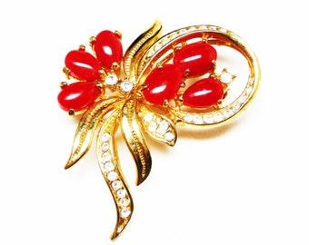Red Flowers & Rhinestone Ribbon Bouquet Brooch - Vintage Mid Century Modern Pin