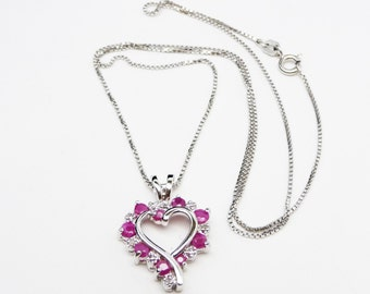 Genuine Ruby & Diamond Pendant - Sterling Silver Heart and Chain - Opened Centered Heart Necklace - Vintage Modern