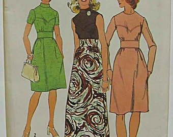 Vintage 70's Misses' Dress in 2 Lengths, Midriff Band, Evening Gown, Simplicity 5236 Sewing Pattern UC Size 16