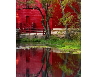 Fine Art Color Rural Americana Photography of the Old Red Mill at Alley Spring Reflecting in Spring in Autumn