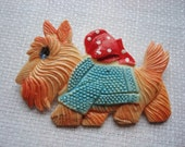 Vintage 1940s Celluloid Scottie Dog Wearing Sweater and Bow Pin Made in Occupied Japan