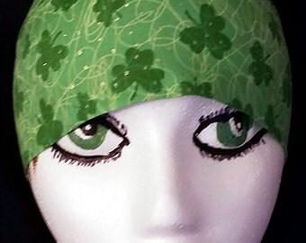 Green w Shamrocks, Gold Vines, Gold Dots- Skull Cap, Chemo Cap, Surgical Cap, Hat, Hair Loss, Bald, St.Patricks Day, Helmet Liner, Do Rag
