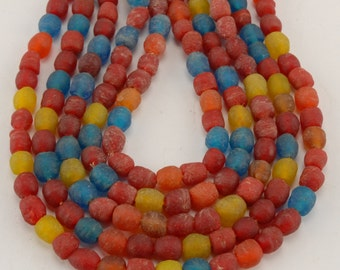 African Recycled Bottle Glass Beads - Multicolor