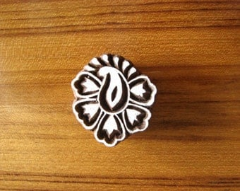 decorative blocks, paisely flower block, textile stamp, paisely print stamp, card making stamps,antique printing stamp, - blk006