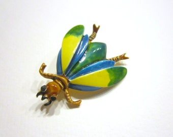 Enameled Bug Brooch Vintage Pin 1 1/2""