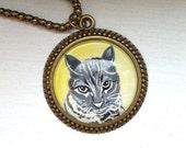 Cat Necklace- Custom Cat Necklace- Cat Portrait Custom- Tabby Cat- Custom Cat Jewelry- Cat Memorial Necklace- Cat Lover Gift- Pet Loss Gifts