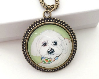Pet Portrait Custom- Custom Pet Necklace- Dog Memorial Necklace- Dog Painting- Maltese Necklace- Pet Loss Gifts- Custom Pet Painting