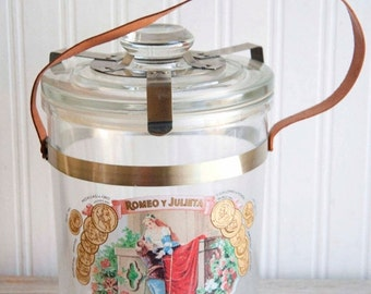 Vintage Romeo J Julieta Glass Jar Humidor, Glass Cigar Bucket with Leather Strap