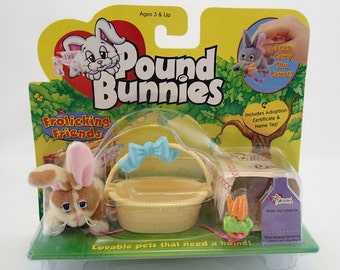 Galoob Pound Bunnies Frolicking Friends Bunny Rabbit MOC New Puppies Vintage Miniature Mini Tiny Easter Spring Special Edition Basket 90s