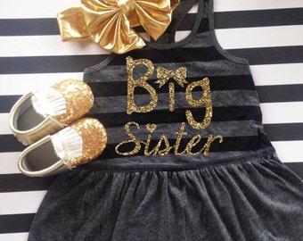 Big sister tank dress girls big sister shirt pregnancy announcement shirt big sister announcement shirt tank top glitter top DRESS ONLY