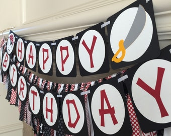 Pirate Bithday Decorations - Pirate Banner - Happy Birthday Banner - Pirate Party Banner - Pirate Party - Pirate Birthday Decor