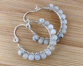 White Tourmalinated Quartz White Gemstone Beaded Sterling Silver Hoops. Wire Wrapped. White Cream Black Earrings.