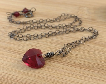 Dark Red Heart Necklace,  Ruby Red Crystal Heart Pendant, Oxidized Sterling Silver Necklace. Red Wedding Valentine's Jewelry. Gothic pendant