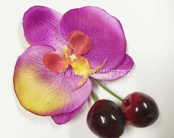 Cherry Orchid Hair Clip