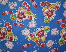 """Vintage Quilt Fabric Mary Had A Little Lamb Sewing Juvenile Nursery Novelty Material 36"""" x 44""""w majikhorsefabrics"""