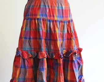 Bright colorful ruffles plaid summer skirt, cotton, size S/M