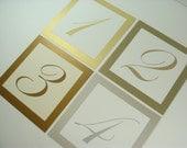 Wedding Table Numbers Metallic Wedding Table Decor Shimmery Gold, Shimmery Gold Leaf, Shimmery Antique Gold Elegant Script Numbers