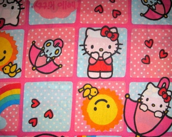 34X44 HELLO KITTY Cotton Fabric Big Squares, hello kitty fabric, polka dot fabric, block fabric, hello kitty blocks, umbrella fabric