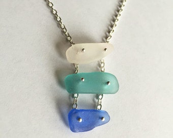 Blue Ombre Sea Glass Necklace, One Of A Kind Necklace, Unique Jewelry, Sea Glass Necklace, Blue Sea Glass Jewelry, Trendy Jewelry