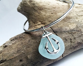 Sea Glass Bangle - Seaglass bracelet, Sea Glass Jewelry, Bridesmaid Jewelry, Beach Wedding Jewelry, Genuine Sea Glass, Blue Sea Glass