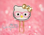 PINK GEEKY KITTY Glitter Planner Clip