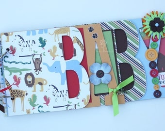 Safari baby scrapbook album, Baby shower gift, Premade scrapbook for baby- BB29