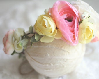 Floral Crown - Floral Halo -  Pink, Yellow and Cream - Photography Prop