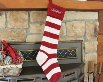 SIZE B Red Stripe (26-27'' Long) --- Knitted Pottery Barn --- Free Monogram --- Fair Isle Stocking