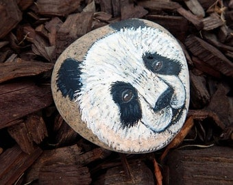 PANDA BEARS Hand Painted Rocks Animal Totem Stone Altar Tools Wildlife ART Cute Bear Medicine Rock Art Lovers Gifts Spirit Animal