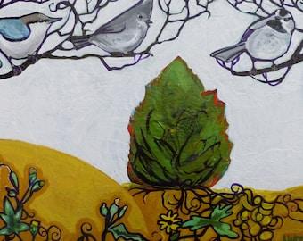 The Juniper Three Original Acrylic Bird Painting